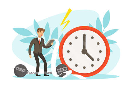 Unsuccessful Businessman with Debt Weight and Big Weight Clock, Business and Financial Failure, Crisis, Failure, Work Mistake, Bankruptcy Concept Vector Illustration