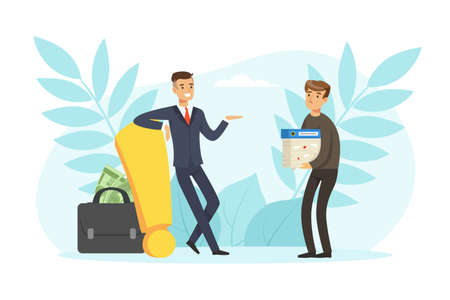 Successful and Unsuccessful Business Characters, Path to Success, Solution and Decision Concept Vector Illustration