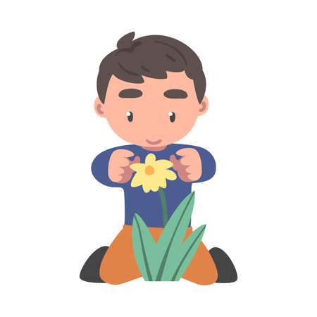 Curious Boy Sitting Near Blooming Flower Studying Plant and Exploring Environment Vector Illustration