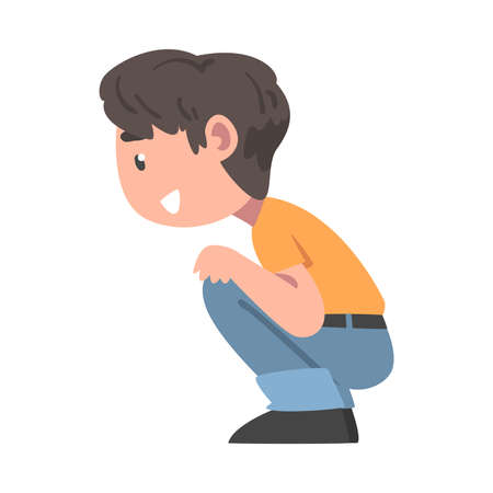 Little Boy Sitting and Looking at Something with Interest Vector Illustration