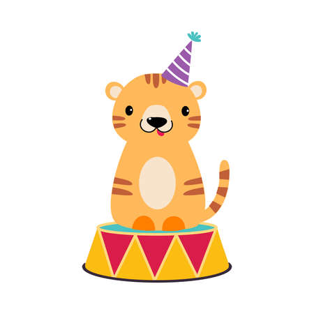 Striped Tiger as Circus Animal Sitting on Colorful Drum Performing Trick Vector Illustration Vetores