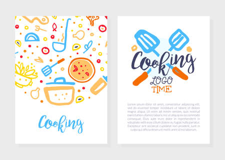 Cooking Time Logo Design, Culinary School, Class, Blog Flyer, Card, Brochure with Kitchenware Utensils, Cooking Ingredients Pattern and Space for Text Vector Illustration
