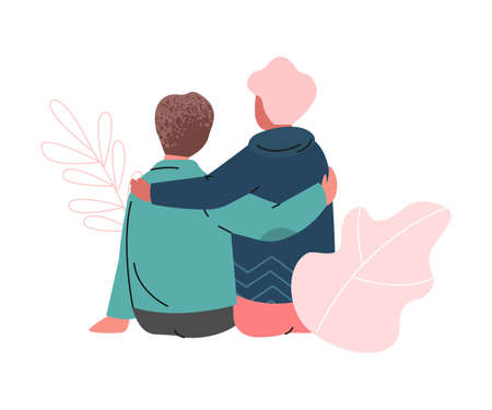 Happy Romantic Couple Sitting and Embracing Each Other Back View Vector Illustration Ilustração Vetorial