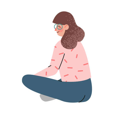 Woman Character Sitting and Looking Ahead as into Bright Future Back View Vector Illustration Vecteurs