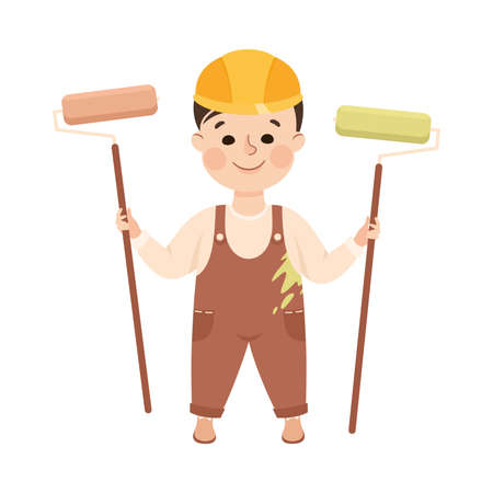 Cheerful Boy with Paint Roller Depicting Builder Profession Vector Illustration