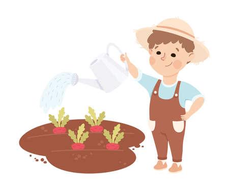 Cheerful Boy Watering Plants Depicting Gardener and Farmer Profession Vector Illustration Ilustración de vector