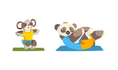 Cute Animals Wild Animals Doing Sports Set, Panda Bear Doing Sit Up and Koala Bear Doing Squats Cartoon Vector Illustration Ilustración de vector