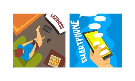 Bad Habits and Addiction Set, Laziness and Smartphone Addiction Cartoon Vector Illustration Vetores