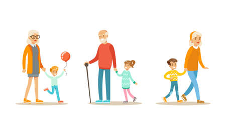 Grandparents Walking in Park and Spending Good Time with their Grandchildren Set Cartoon Vector Illustration