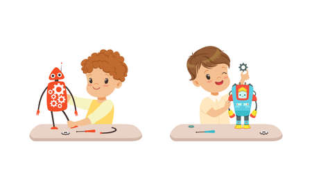 Cute Boys Creating Robot Models Set, Kids Engineers Building Robotic Technology, Hobby or Future Profession Concept Cartoon Vector Illustration