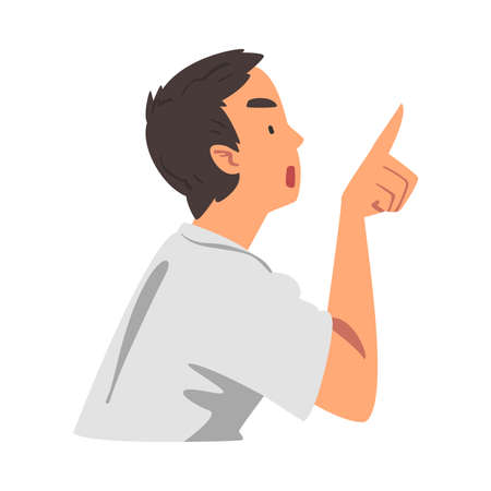 Angry Man Threatening his Finger, Person Expressing Disagreement or Disapproval Negative Emotions Cartoon Vector Illustration