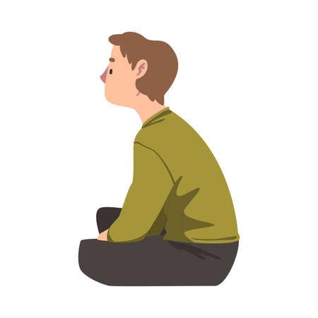 Side View of Teenage Boy Sitting on Floor Cartoon Vector Illustration