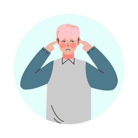 Young Man Making Negative Hand Gesture Closing His Ears in Circular Frame Vector Illustration