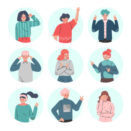 Young Man and Woman Making Positive and Negative Hand Gestures in Circular Frames Vector Illustration Set