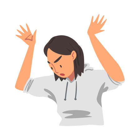 Angry Woman Raising her Arms Up, Person Expressing Disagreement or Disapproval Negative Emotions Cartoon Vector Illustration