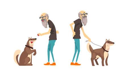 Lonely Senior Man Walking with his Dog Set Cartoon Vector Illustration