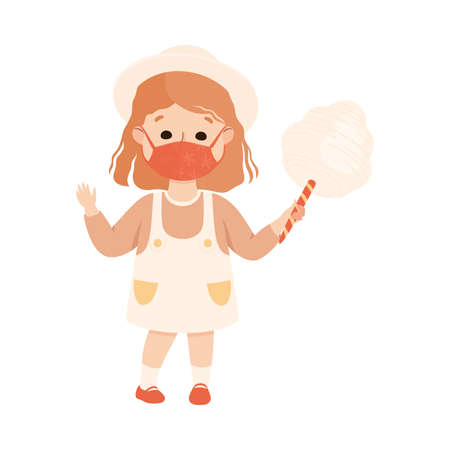 New Normal Lifestyle with Happy Girl Wearing Face Mask Holding Candy Floss Vector Illustration Vecteurs
