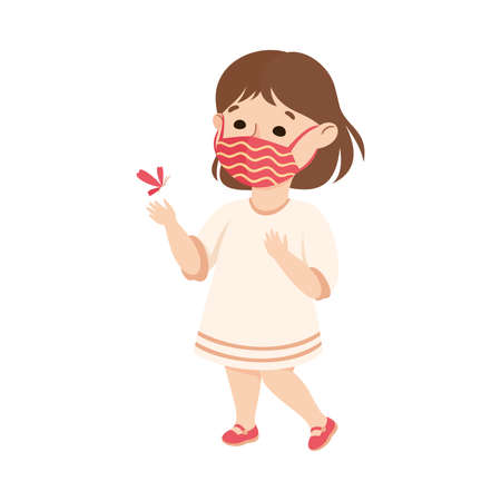 Happy Girl Wearing Face Mask as New Normal Lifestyle Vector Illustration