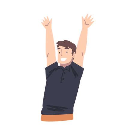 Cheerful Boy Raising his Hands, Happy Man Celebrating Success Cartoon Vector Illustration