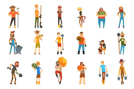 Male Farmers Characters Working on Farm Set, Cheerful Agricultural Workers Harvesting, Watering Plants, Caring for Farm Vegetables Cartoon Vector Illustration Vector Illustration
