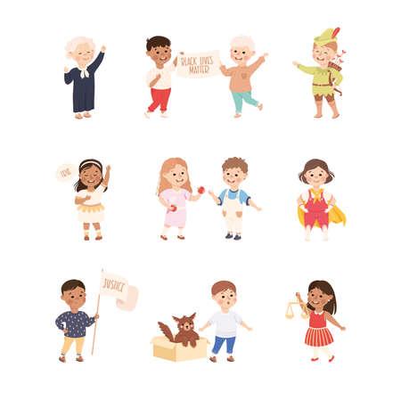 Kind and Fair Little Children Doing Justice and Engaged in Honest Behavior Vector Set Vector Illustration
