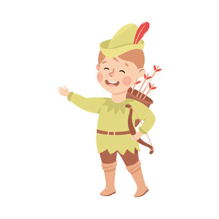 Kind and Fair Little Boy Wearing Robin Hood Costume Fighting for Justice Vector Illustration Vector Illustration