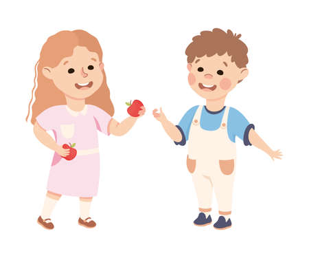 Kind and Fair Little Girl Sharing Apple with Her Agemate Vector Illustration