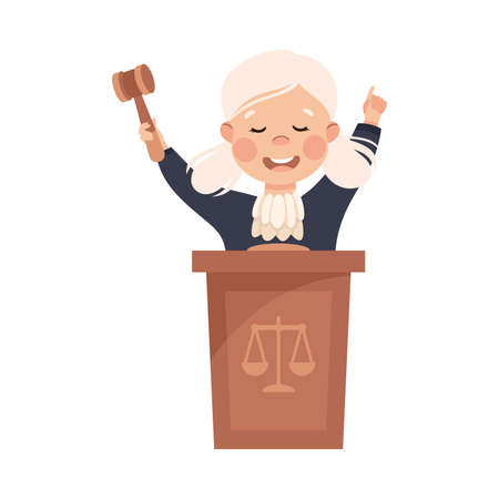 Kind and Fair Little Girl Doing Justice and Engaged in Honest Behavior Vector Illustration
