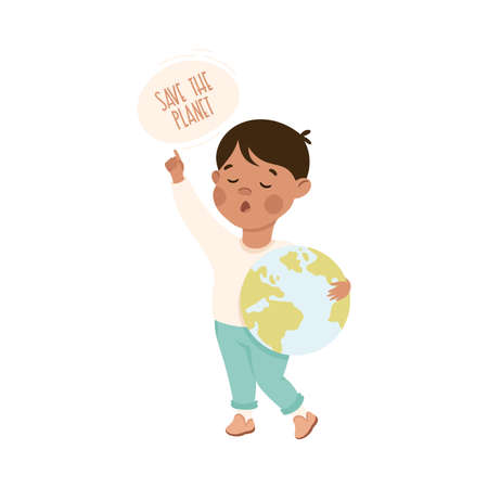 Kind and Fair Little Boy Holding Globe Appealing to Save the Planet Doing Justice Vector Illustration Vector Illustration