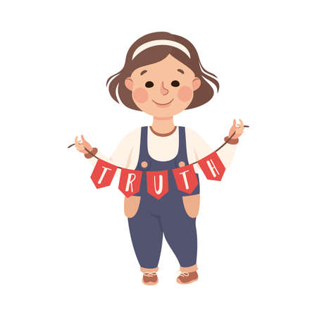 Kind and Fair Little Girl Holding Garland with Truth Word Vector Illustration