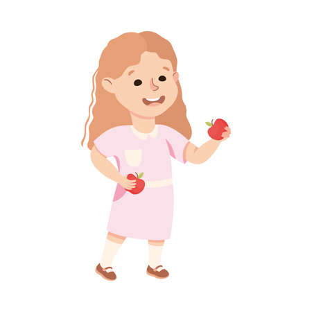 Kind and Fair Little Girl Sharing Apple Vector Illustration