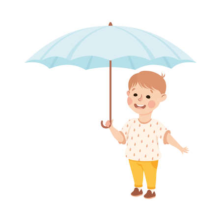 Kind and Fair Little Boy Holding Umbrella Protecting Doing Justice Vector Illustration