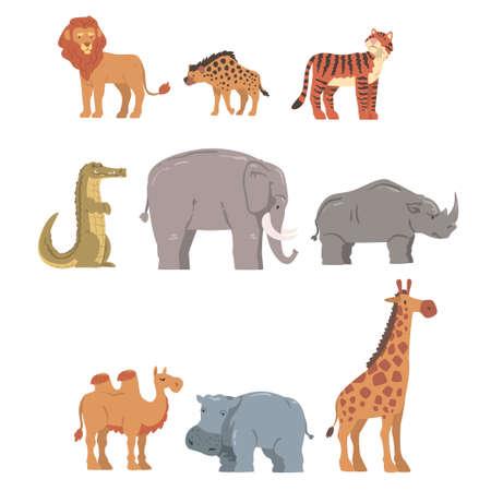 Collection of African Animal, Hippopotamus, Lion, Rhino, Elephant, Crocodile, Wild Predator and Herbivore Jungle Savannah Animals Cartoon Vector Illustration Vektoros illusztráció