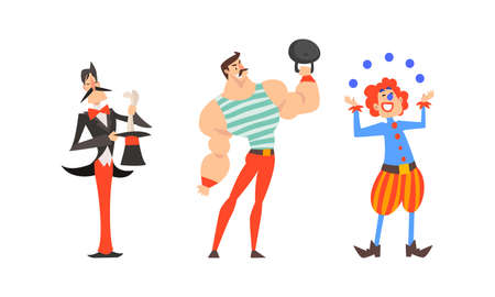 Clown Juggling Balls, Magician with Top Hat and Muscled Man Lifting Heavy Kettlebell as Traveling Chapiteau Circus Vector Set Vettoriali