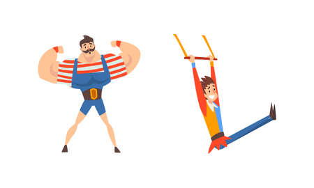 Muscled Man and Acrobat Hanging on Aerial Bar as Traveling Chapiteau Circus Vector Set Vettoriali
