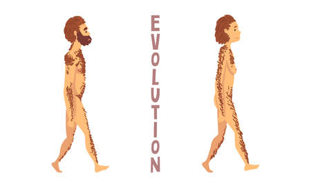 Male and Female Homo Sapiens as Biology and Human Evolution Stage Vector Set