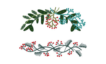 Green Entangled Branches and Twigs as Decorative Element Vector Set