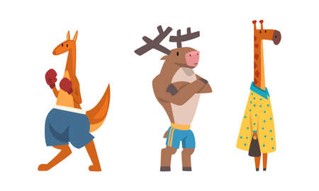 Humanized Animals of Different Professions with Giraffe Teacher and Boxing Kangaroo Vector Set