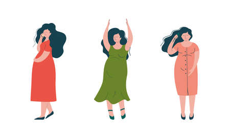 Pregnant Woman Lifestyle with Happy Expectant Mother During Pregnancy Dancing and Speaking by Phone Vector Set