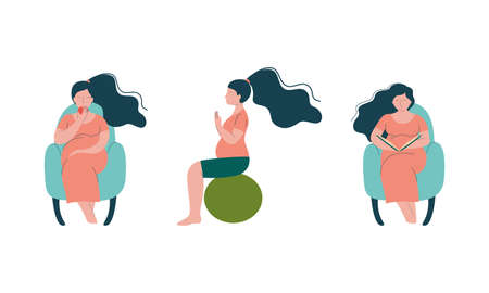 Pregnant Woman Lifestyle with Happy Expectant Mother During Pregnancy Sitting on Fitball and Reading Book in Armchair Vector Set