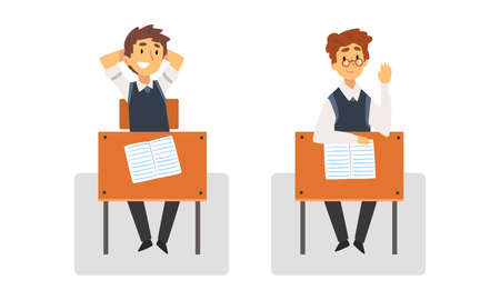 Boy Pupil or Student Sitting at Desk Having School Lesson Front View Vector Set