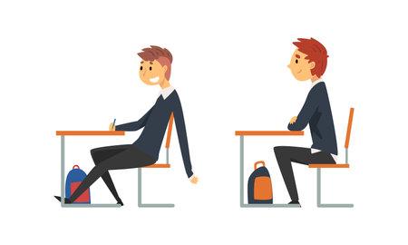 Boy Pupil or Student Sitting at Desk Having School Lesson Side View Vector Set Vetores