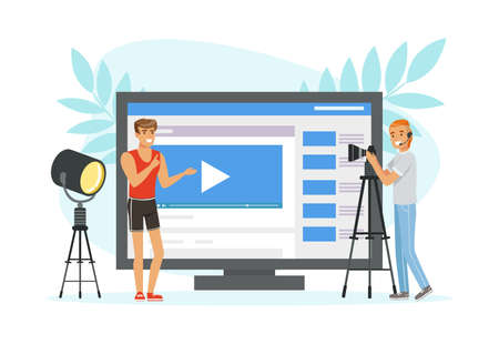 Male with Camera on Tripod Shooting and Making Video Content Vector Illustration Vektorové ilustrace