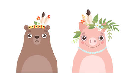 Set of Lovely Animal in Wreath of Flowers, Spring Portraits of Cute Bear and Pig Baby Animals Cartoon Vector Illustration Vektoros illusztráció