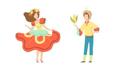 Couple in Colorful Costumes Dancing at Folklore Party Set, Traditional Brazil June Festival, Festa Junina Cartoon Vector Illustration Vektorové ilustrace