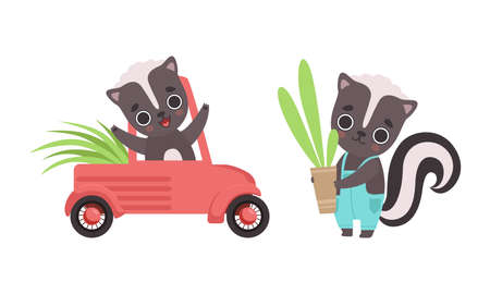 Adorable Badger Activities Set, Cute Baby Animal Character Riding Car and Holding Flowerpot with Plant Cartoon Vector Illustration