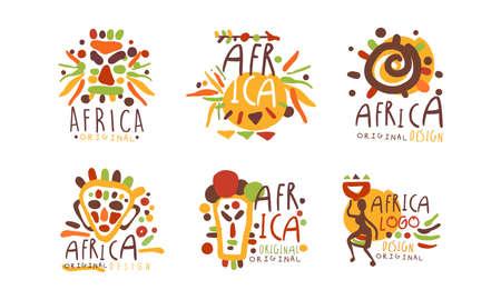 Original African Badge Design Vector Set Vektoros illusztráció