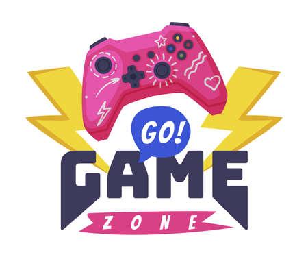 Go Game Zone Logo, Joysticks Gamepad with Slogan Text Print Cartoon Vector Illustration Logo