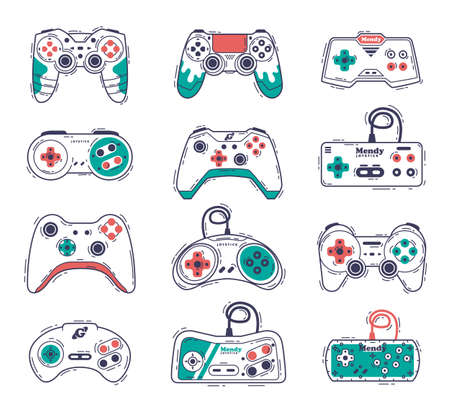Video Game Controllers Set, Gamepad Consoles, Video Gamer Gadgets Hand Drawn Vector Illustration Vektorové ilustrace