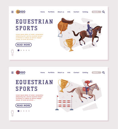 Equestrian Sports Landing Page Templates Set, People Riding Horses, Racing, Dressage, Vaulting Homepage Design Vector Illustration